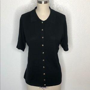 Vintage Tops - Vintage button down knit shirt blue M